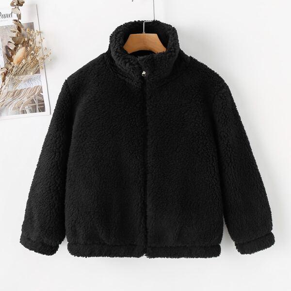 Girls Zip-up Funnel Neck Teddy Coat, Black