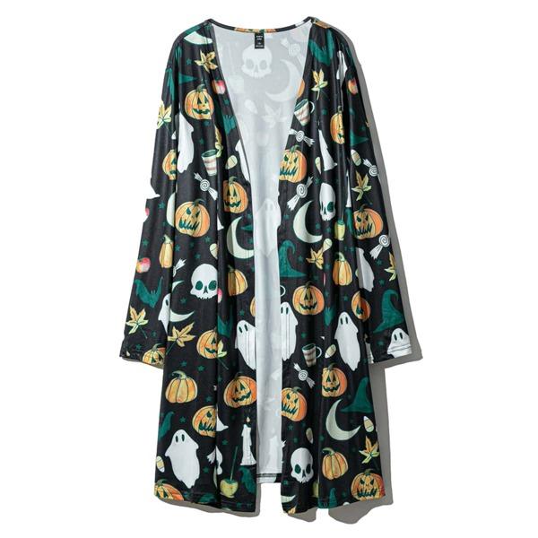 Plus Halloween Print Open Front Coat, Multicolor