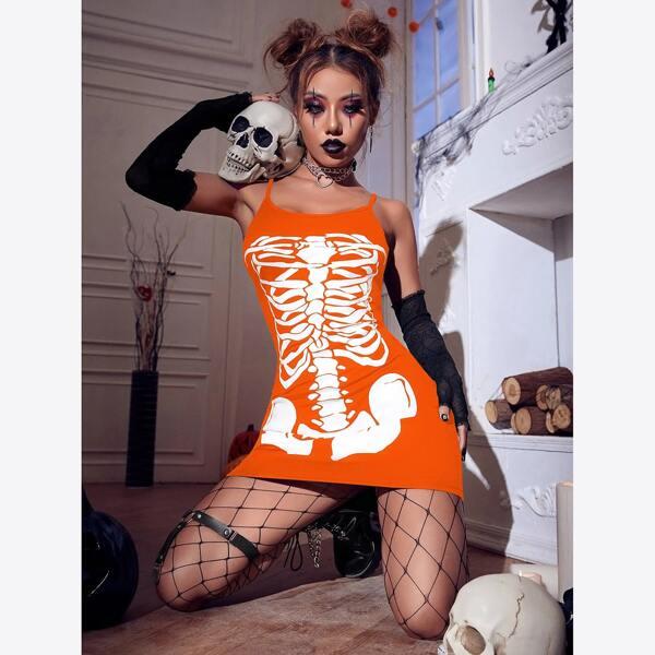 Halloween Print Bodycon Cami Dress Without Oversleeve, Orange