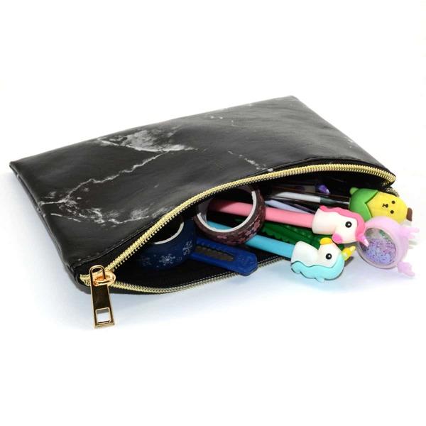 1pc Marble Pattern Pencil Bag, Multicolor