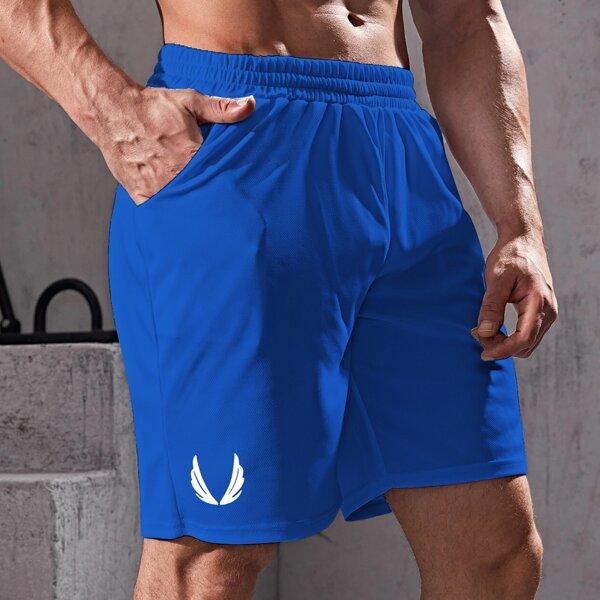 Men Graphic Print Slant Pocket Sports Shorts, Royal blue