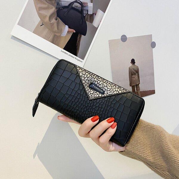 Croc Embossed Letter Patch Long Wallet, Black