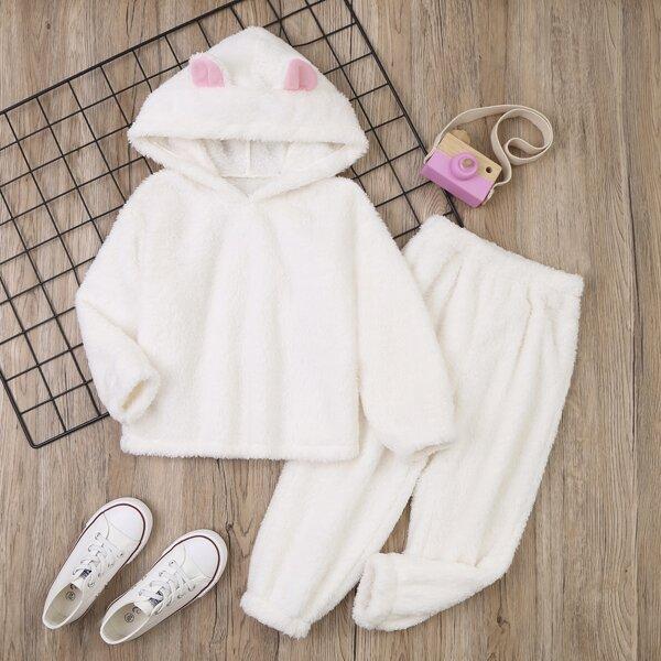 Toddler Girls 3D Ears Design Teddy Hoodie & Pants, White