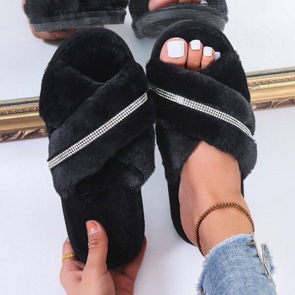 Rhinestone Decor Crossover Strap Fuzzy Slippers, Black