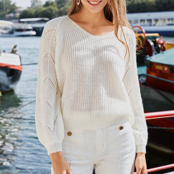 Raglan Sleeve Ribbed Knit Sweater, White