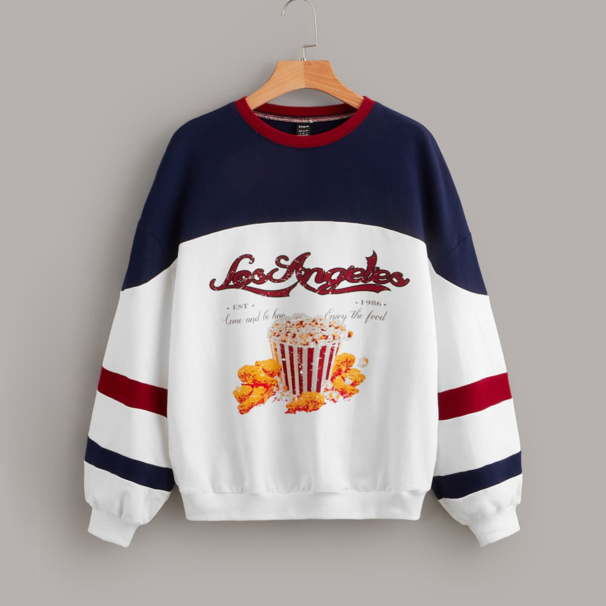 Color Block Slogan & Fried Chicken Print Drop Shoulder Pullover