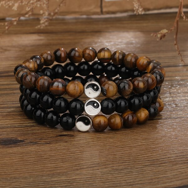 3pcs Yin & Yang Decor Beaded Bracelet, Multicolor