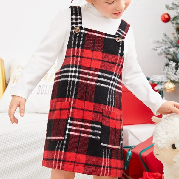 Toddler Girls Mock Neck Tee & Plaid Double Pocket Pinafore Dress, Multicolor