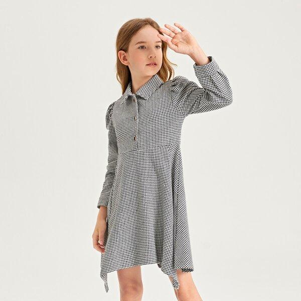 Girls Houndstooth Puff Sleeve Asymmetrical Hem Shirt Dress, Black and white