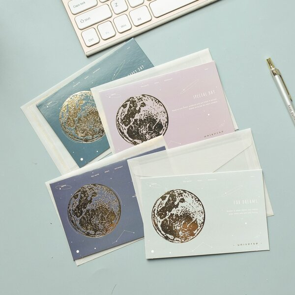 4pcs Hot Stamping Greeting Card, Multicolor