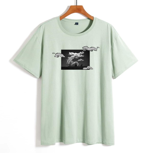 Men Graphic Print Tee, Mint green