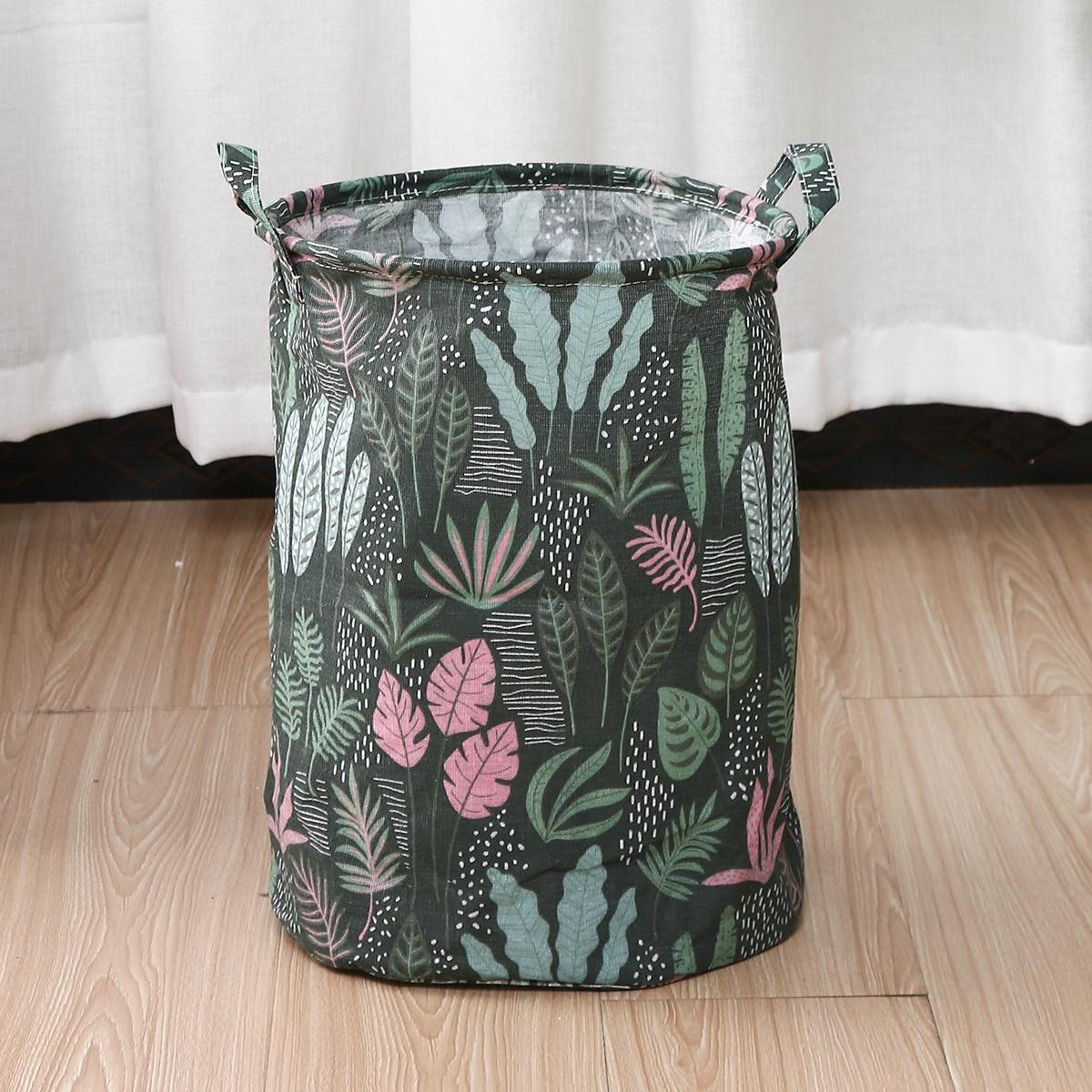 Корзина для белья с растительным принтом
