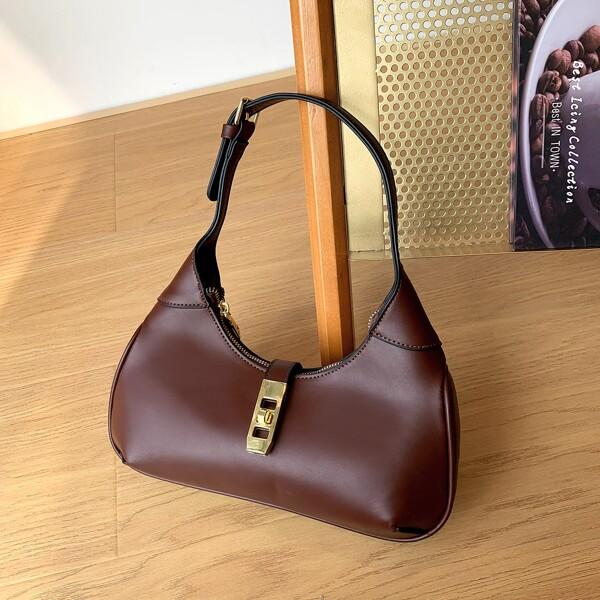 Minimalist Twist Lock Baguette Bag, Coffee brown