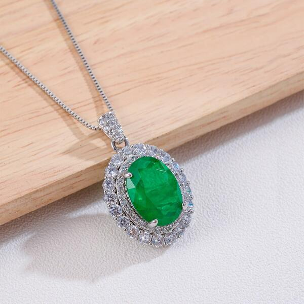 Zircon Decor Oval Charm Necklace, Green