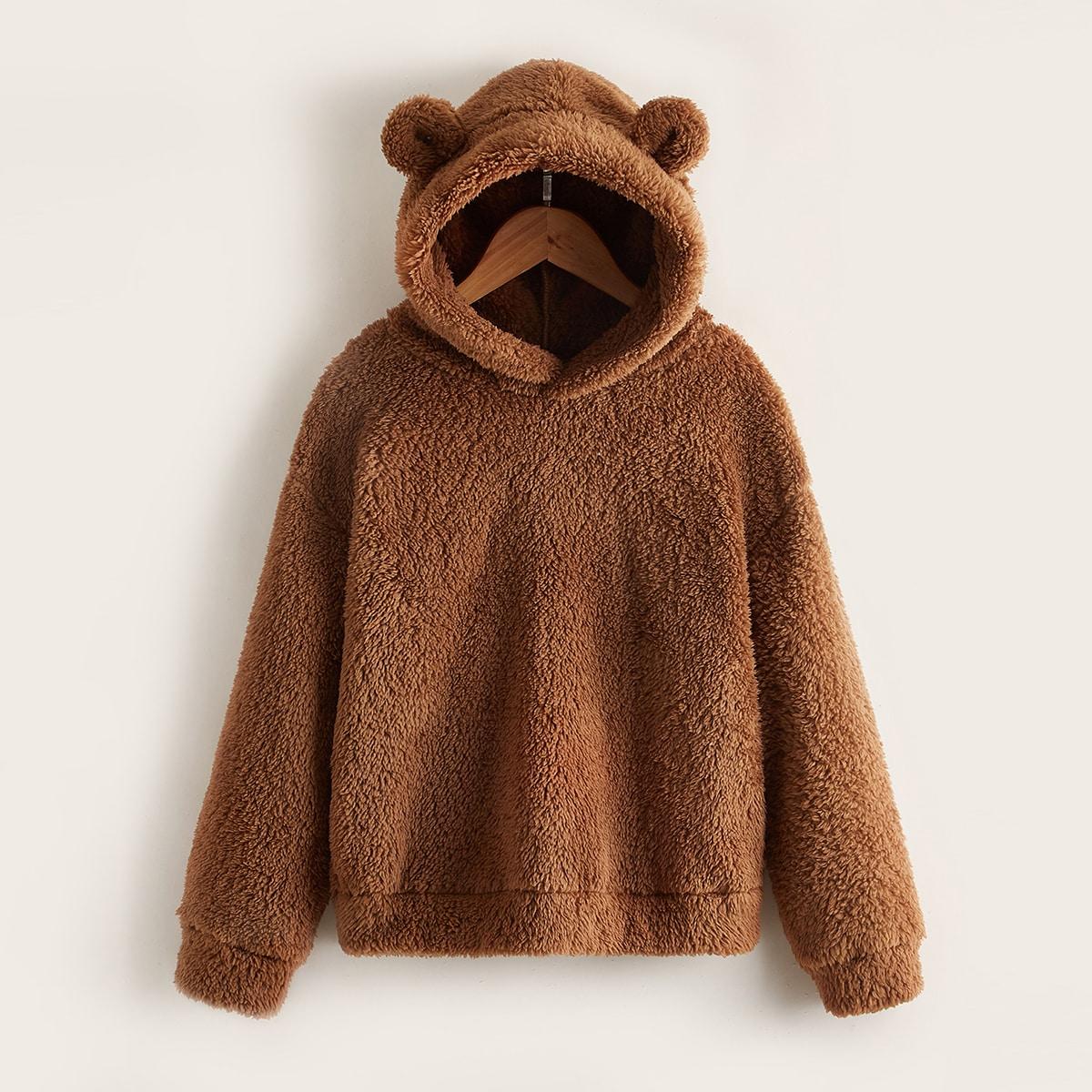 Garçon Sweat-shirt à capuche patch 3D en tissu duveteux