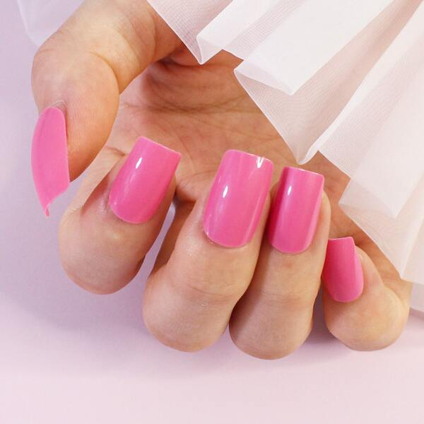 24pcs Plain Fake Nail & 1sheet Tape & 1pc Nail File, Pink