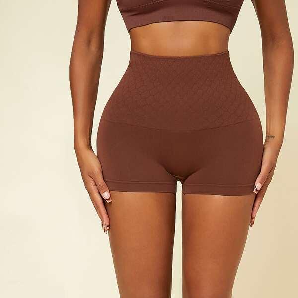 High Waisted Shapewear Shorts, Rust brown