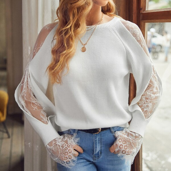 Ribbed Knit Lace Insert Raglan Sleeve Sweater, White