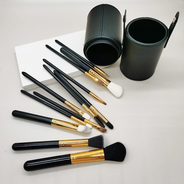 12pcs Makeup Brush Set With Storage Box, Black