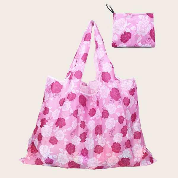 Allover Flower Graphic Shopper Bag, Multicolor