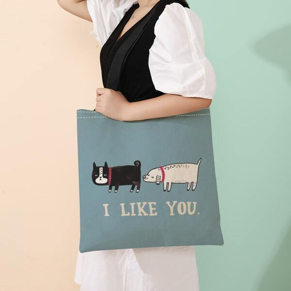 Dog Graphic Linen Shopper Bag, Multicolor