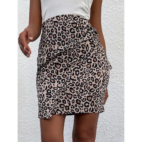 Cheetah Print Knot Side Skirt, Multicolor