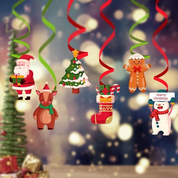12pcs Christmas Pattern Spiral Decoration, Multicolor