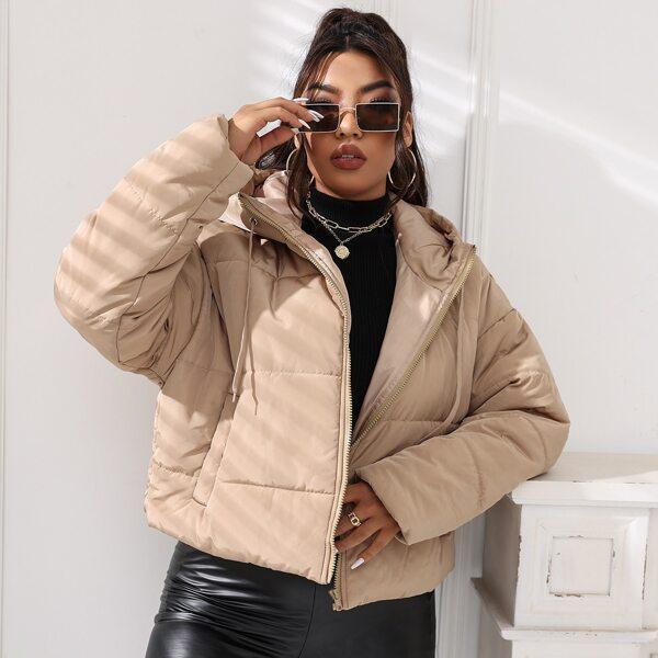 Plus Solid Drawstring Zip-up Hooded Puffer Coat, Khaki
