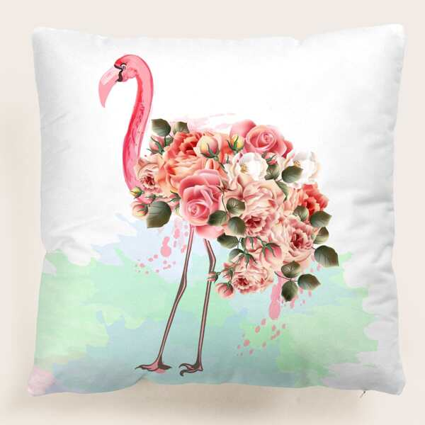Flamingo & Floral Print Cushion Cover Without Filler, Multicolor