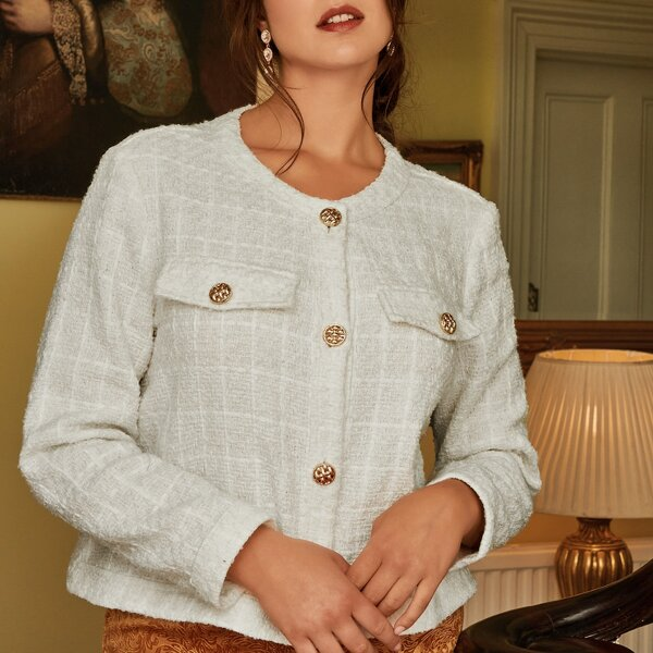 Plus Flap Detail Tweed Jacket, White