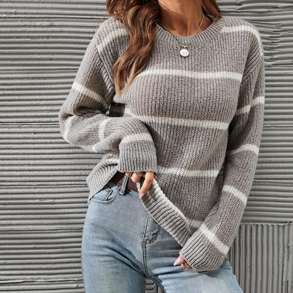 Striped Pattern Drop Shoulder Sweater, Grey