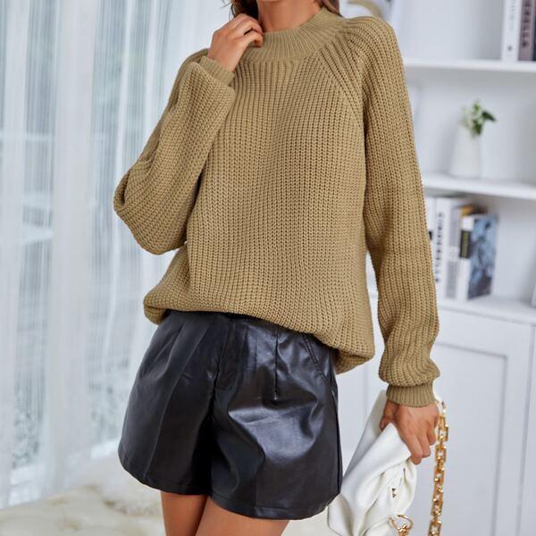 Ribbed Knit Raglan Sleeve Sweater, Camel