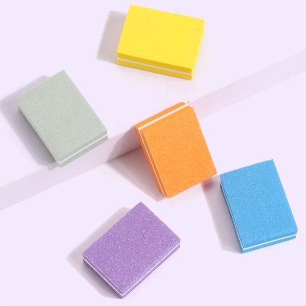 5pcs Double-sided Sponge Nail File, Multicolor