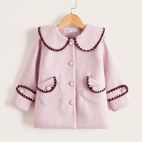 Toddler Girls Peter Pan Collar Embroidery Trim Overcoat, Baby pink