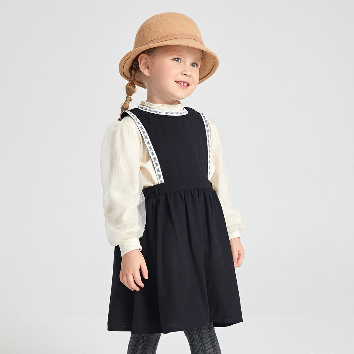 Toddler Girls Cut Out Back Overall Dress & Mesh Overlay Puff Sleeve Top