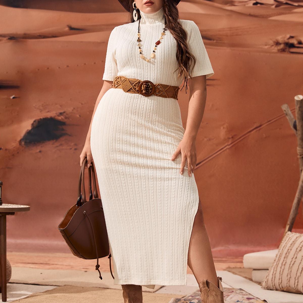 Plus High Neck Slit Thigh Textured Bodycon Dress
