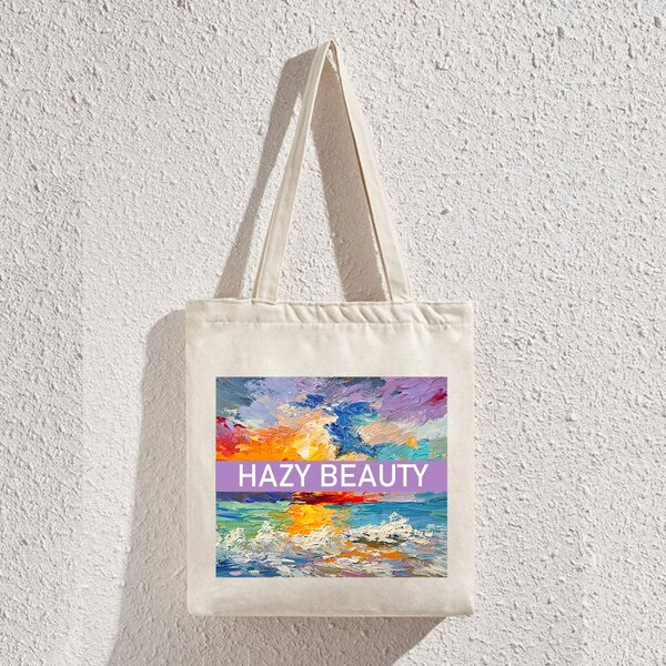 Letter & Landscape Graphic Shopper Bag, Beige