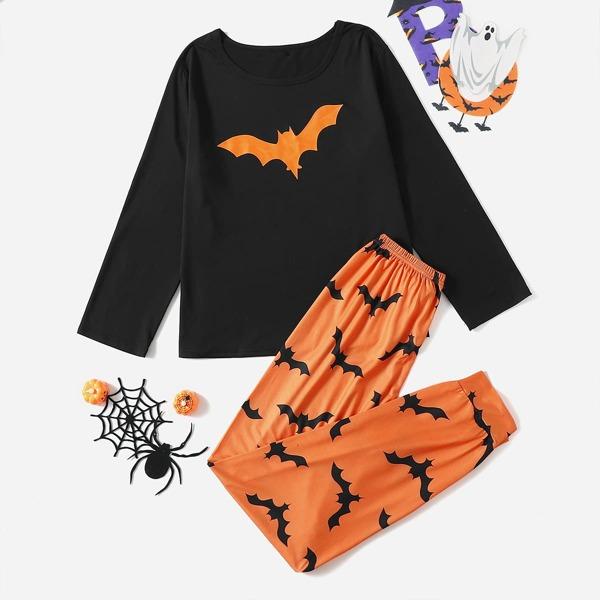 Bat Print Top and Pants Pajama Set, Multicolor