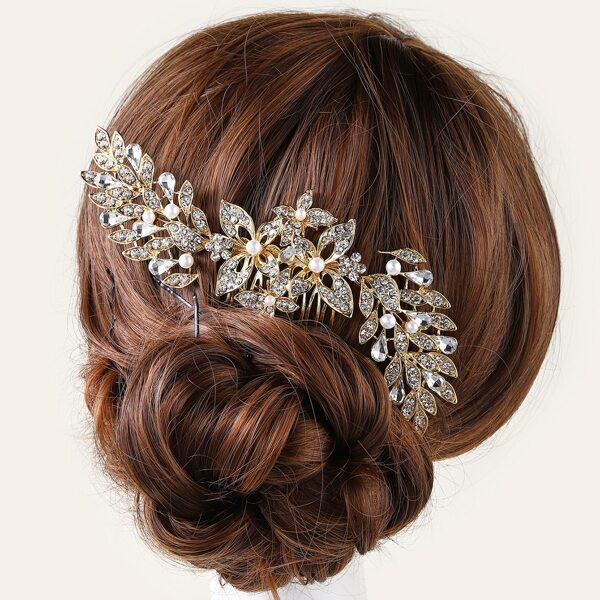 Rhinestone Bridal Hair Pin, Gold