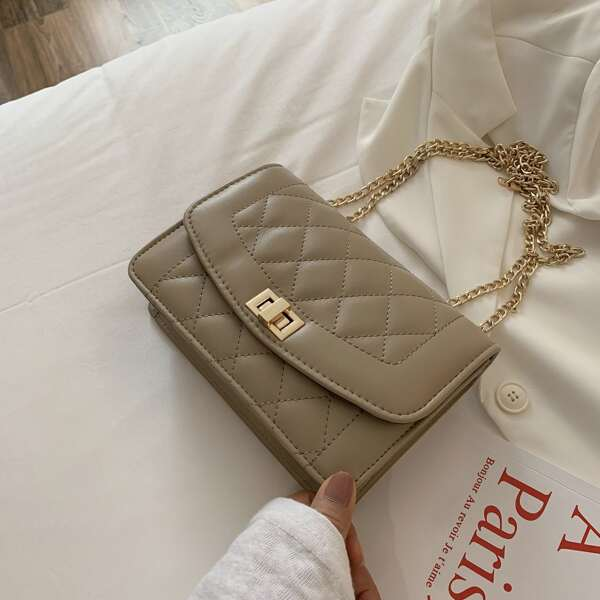 Quilted Twist Lock Chain Square Bag, Khaki