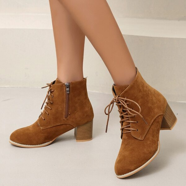 Lace-up Front Side Zipper Chunky Heeled Boots, Brown