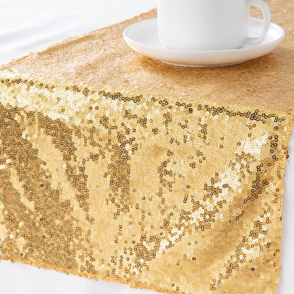 1pc Sequin Table Runner, Gold