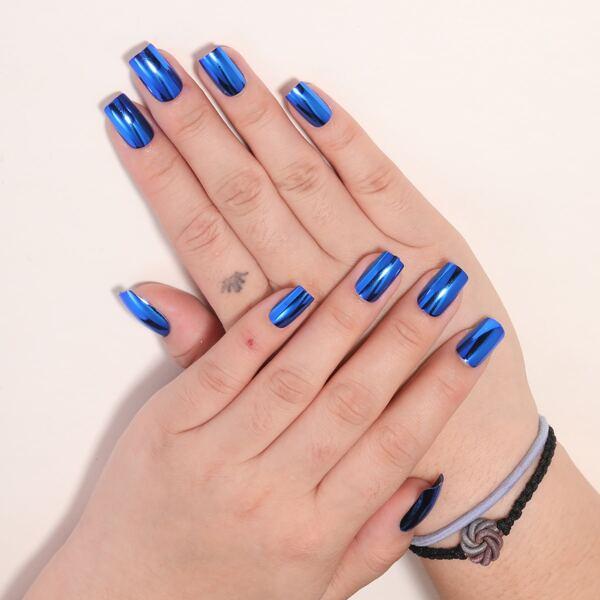 24pcs Plain Fake Nail & 1pc Nail File & 1sheet Tape, Royal blue