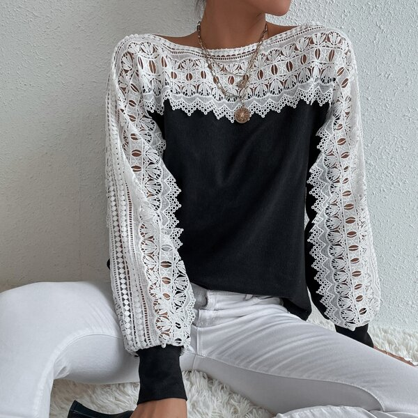Guipure Lace Insert Batwing Sleeve Sweatshirt, Black and white
