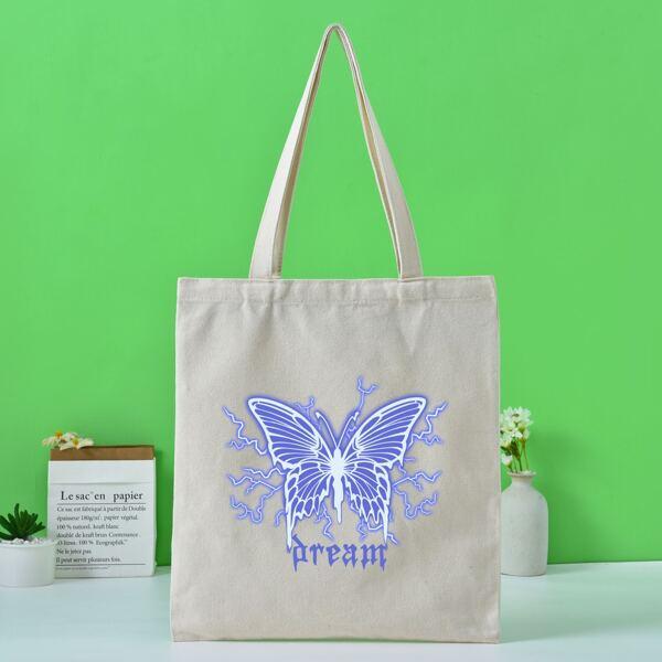 Butterfly Graphic Shopper Bag, Beige
