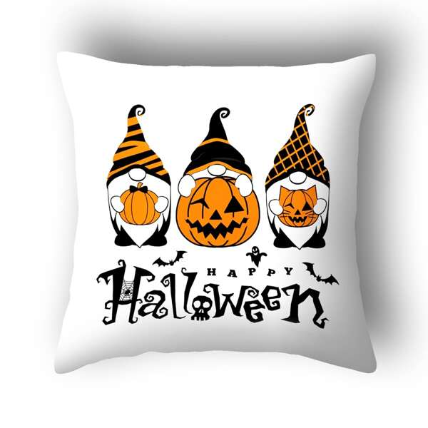 Halloween Pumpkin Print Cushion Cover Without Filler, Multicolor