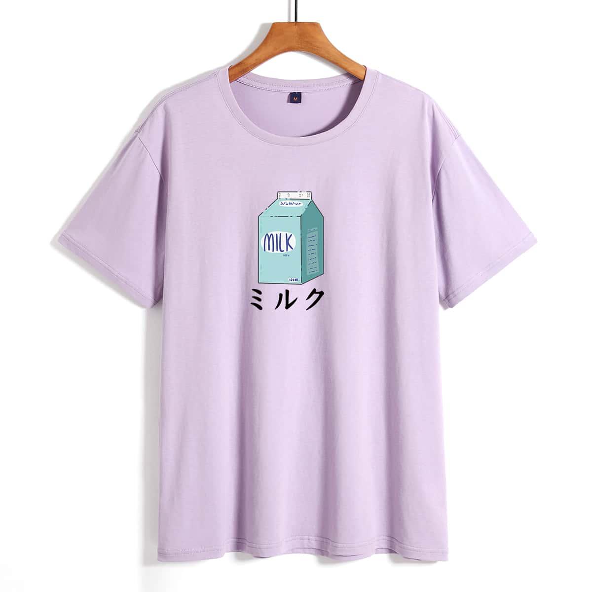 Men Japanese Letter & Milk Print Tee