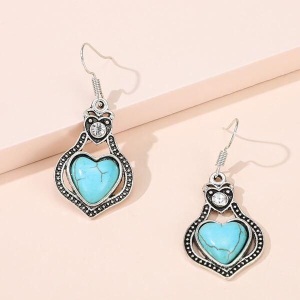 Heart Stone Drop Earrings, Antique silver