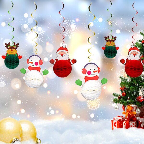 6pcs Christmas Snowman Print Spiral Decoration, Multicolor