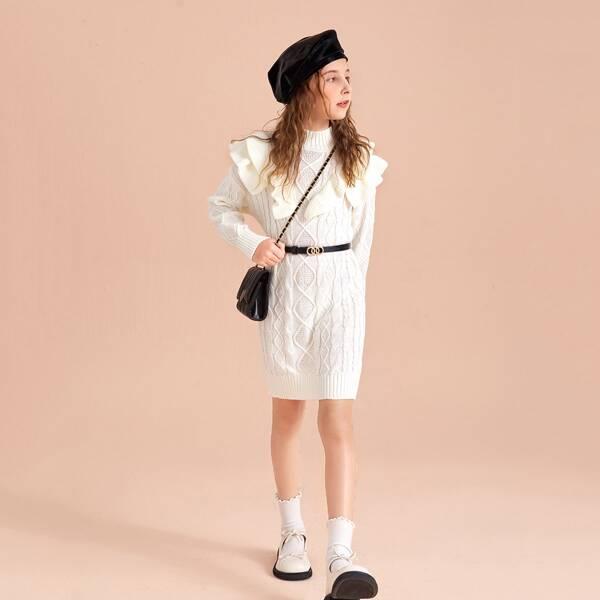 Girls Ruffle Trim Cable Knit Sweater Dress Without Belt, White